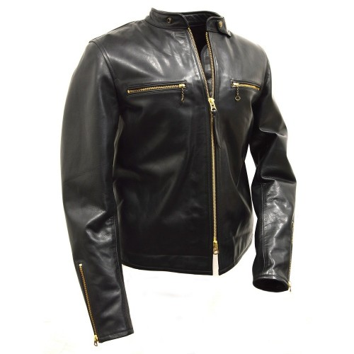 Thedi Leathers Cafe Racer Jacket Black Horsehide
